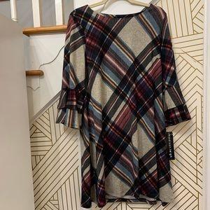 Madison Leigh Plaid Bell Sleeve Dress